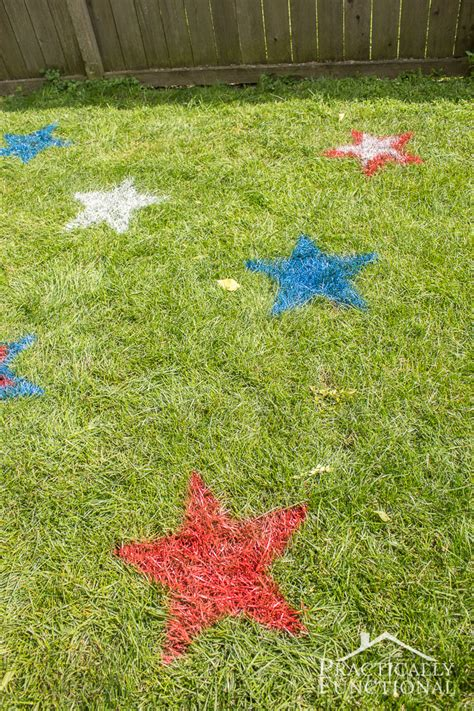 chalk paint for grass 4th of july spray painted lawn