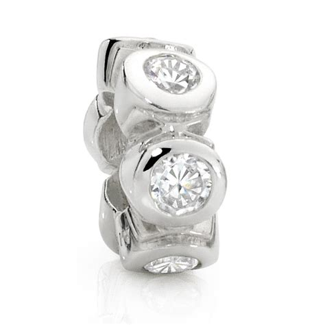 sterling silver spacer cubic zirconia sterling silver spacer