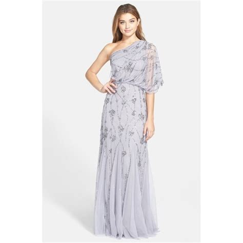 one shoulder beaded blouson gown 40 papell dresses skirts papell