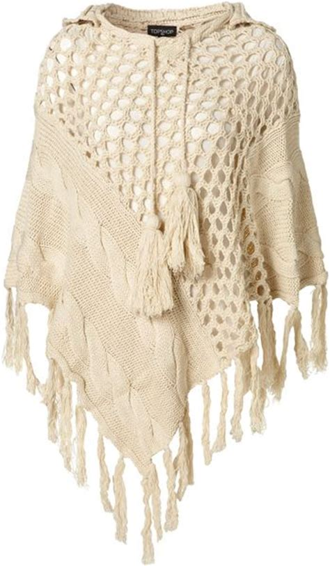 knitted hooded poncho topshop knitted cable hooded poncho in beige oatmeal lyst