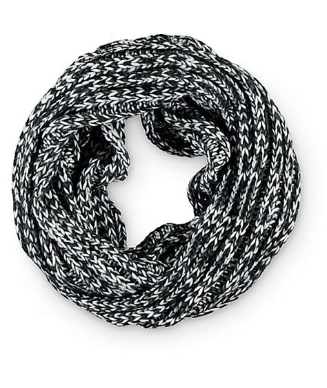 white knit infinity scarf empyre black white marled knit infinity scarf at zumiez