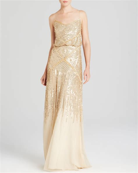 gold beaded gowns papell sleeveless beaded blouson gown