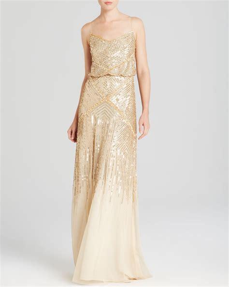gold beaded dress papell sleeveless beaded blouson gown
