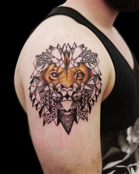 linework dotwork geometric realistic lion tattoo by obi