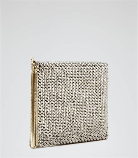 beaded clutches silver beaded clutch bag reiss