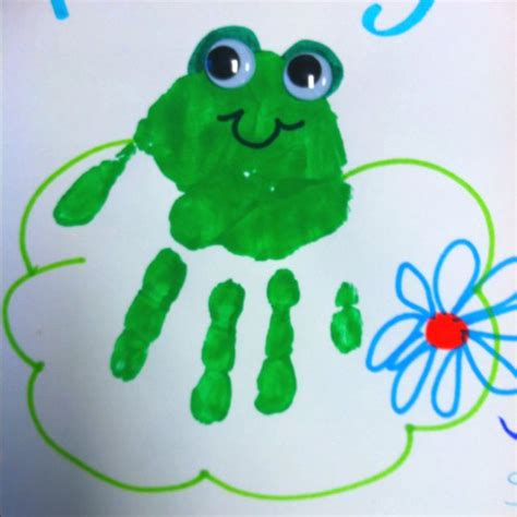frog craft project handprint frog frogs frogs