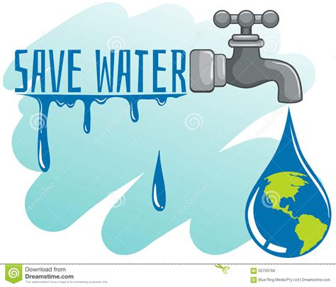 theme save earth save water theme with earth and faucet stock vector