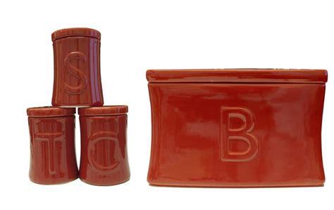 Red Ceramic Canisters For The Kitchen ceramic tea coffee sugar utensil jar set amp bread bin in