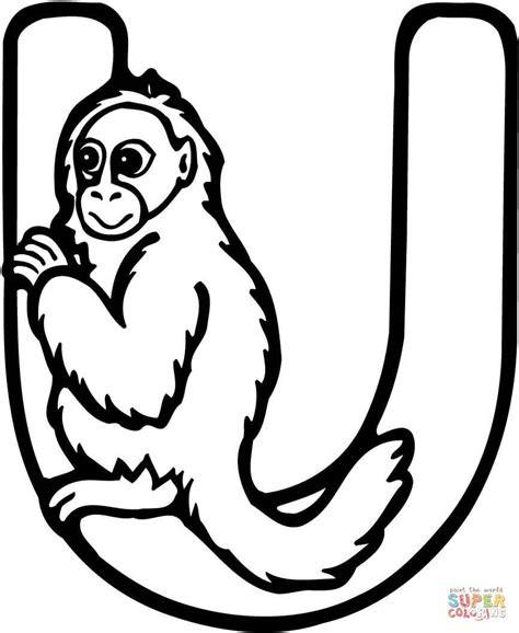 Letter U is for Uakari Monkey coloring page   Free ... U Coloring Page