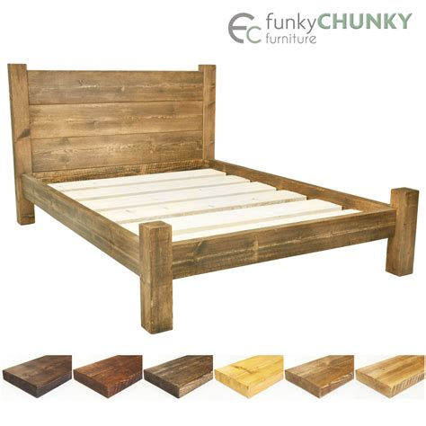 rustic wood bed frames bed frame chunky solid rustic wood with headboard and