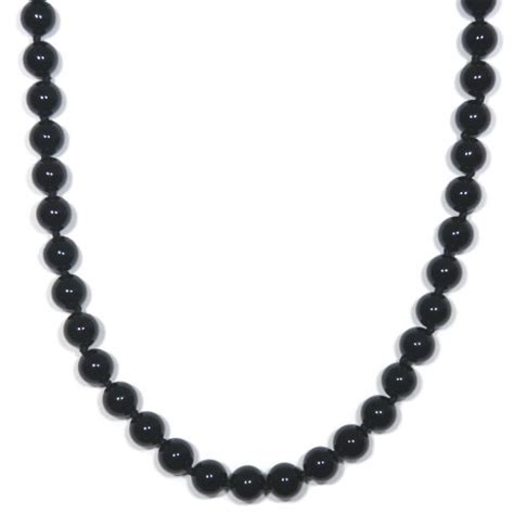 onyx bead necklace sterling silver 8mm black onyx bead necklace 24