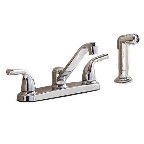aquasource kitchen faucets shop aquasource chrome 2 handle low arc kitchen faucet with side spray at lowes