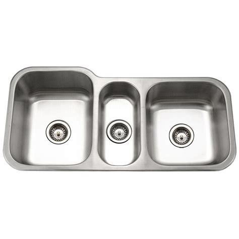 3 bowl kitchen sink undermount houzer medallion gourmet undermount stainless steel 40 in