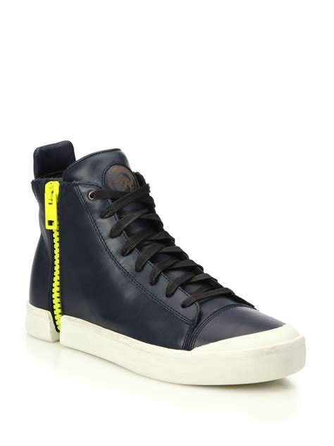 leather high top shoes for diesel nentish zip around leather high top sneakers in