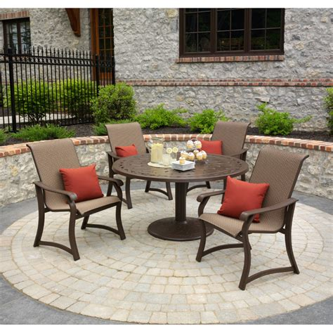 5 patio dining set telescope casual villa sling 5 outdoor patio dining