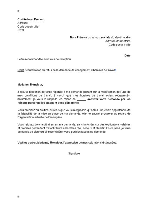 Modification Du Contrat De Travail Pour Raison Personnelle by Modele De Courrier Officiel