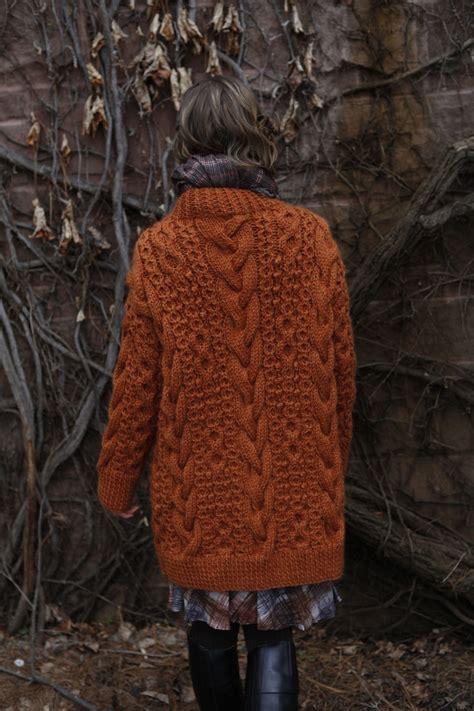 burnt orange cable knit sweater norah gaughan vol 9 chunky burnt orange cardigan