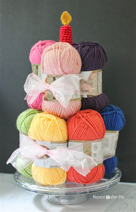 happy birthday knitting repeat crafter me yarn cake with a crochet candle
