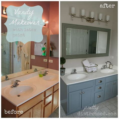 Makeover Bathroom Vanity by Pretty Distressed Bathroom Vanity Makeover With Paint
