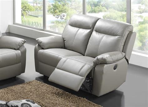 canap 233 2 places cuir relax victory gris