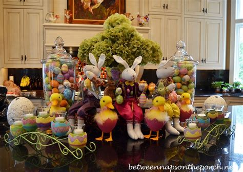 Tuscan Kitchen Island decorating for easter and springtime