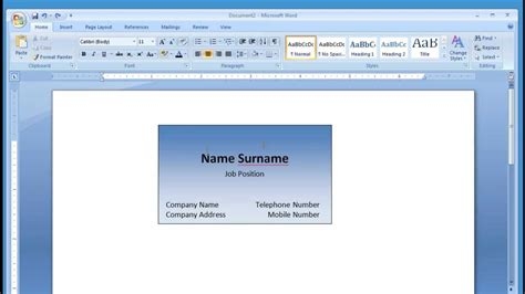 how to make a student business card microsoft word and printing business card 1 2