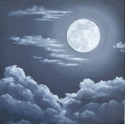 acrylic painting moon moon and clouds painting sky moon original