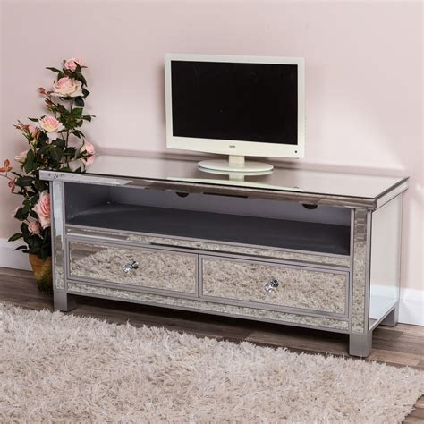 mirrored tv cabinet silver mirrored tv stand television cabinet unit glass venetian chic furniture ebay