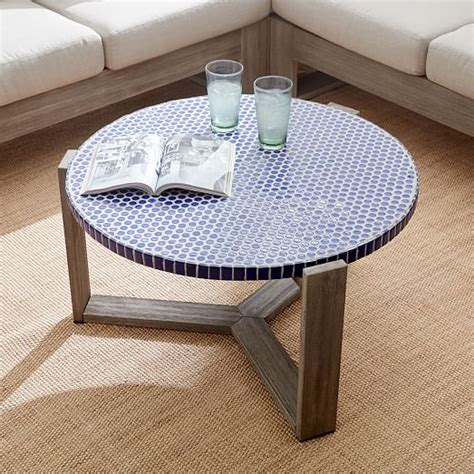mosaic tile coffee table mosaic tiled coffee table blue top west elm