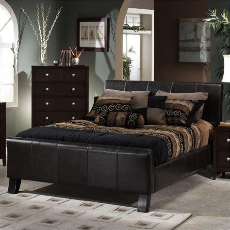 brown bedroom furniture sets hillsdale brookland brown leather upholstered sleigh