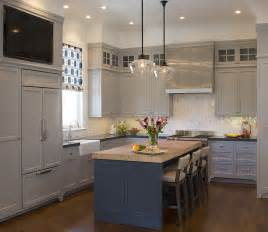 Kitchen Islands With Stove Top blue kitchen island with maple butcher block