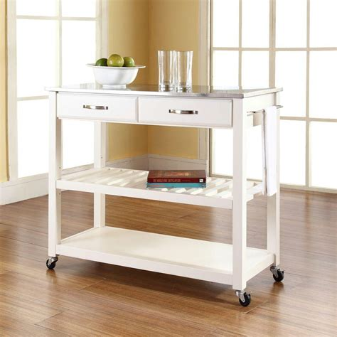 kitchen island or cart crosley white kitchen cart with stainless steel top