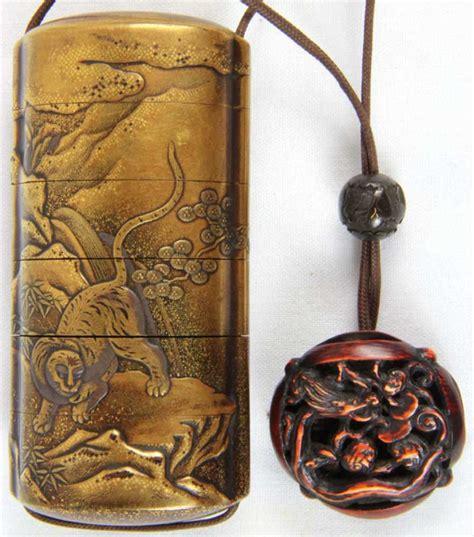 ojime antique five compartment inro with anabori netsuke and ojime