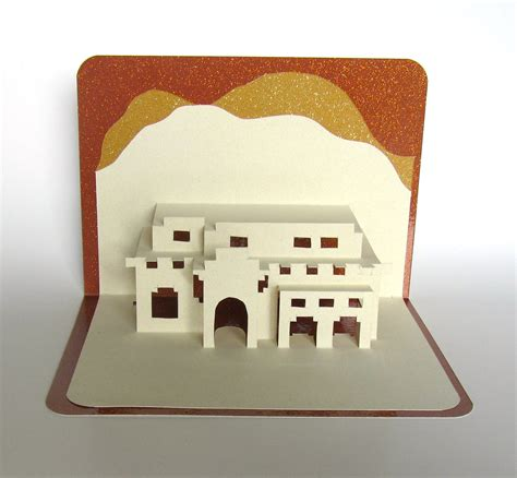 3d cards to make at home santa fe house pop up 3d card home d 233 cor origamic by boldfolds