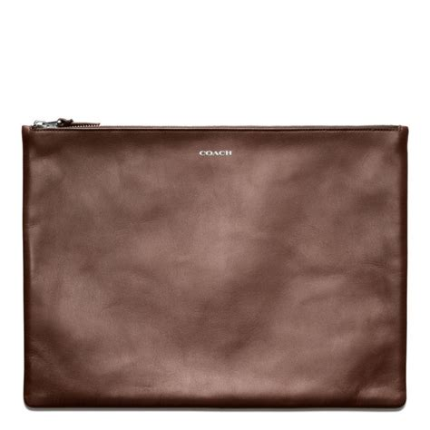 large for leather coach bleecker leather large zip portfolio in brown for