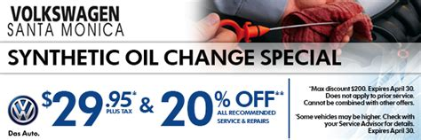 Santa Volkswagen Service by Synthetic Change Special Service Savings Coupon