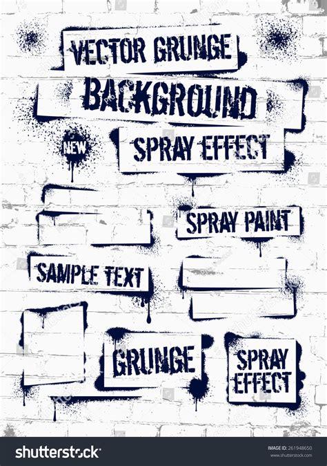 grunge spray paint font various spray paint graffiti on brick stock vector