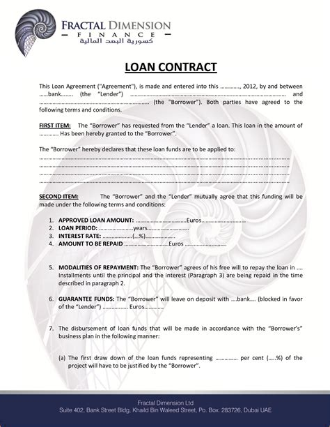 6 loan contract sample teknoswitch