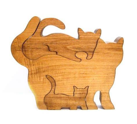 woodwork puzzles vintage wood puzzle handmade cat kitten puzzles