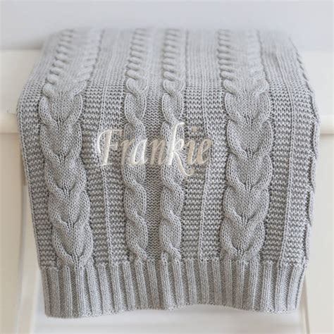 gray knit blanket personalised cable knit blanket grey by my 1st years