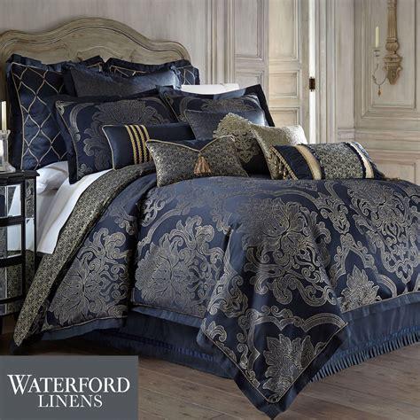 navy bedding vaughn navy comforter bedding by waterford linens