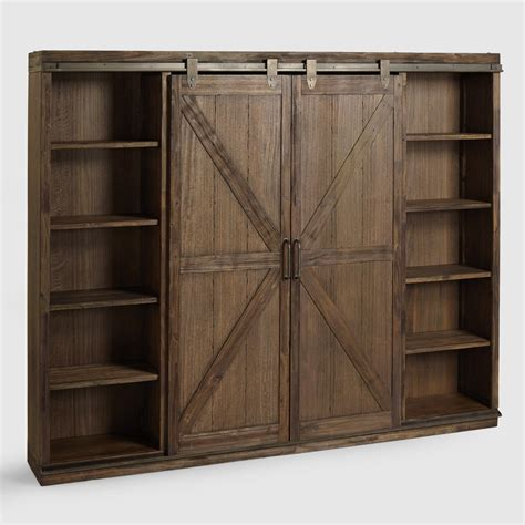 bookcase plans with doors wood farmhouse barn door bookcase world market