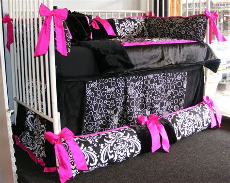 pink and white damask crib bedding pink and black crib bedding minnie mouse w pink and