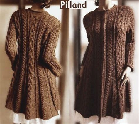 coat knitting pattern cable knit coat sweater pdf knitting pattern aran knit