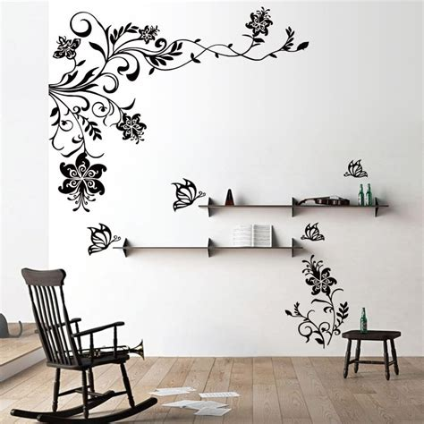 flower stickers for walls butterfly vine flower wall decals vinyl stickers