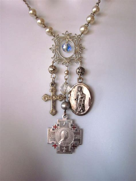 religious charms for jewelry religious charm necklace vintage medals reserved for patti