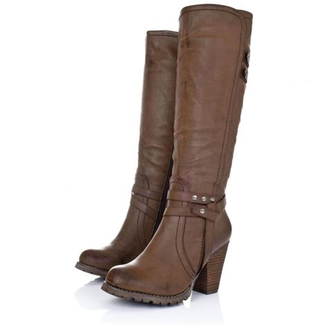 leather knee high boots for buy august block heel knee high biker boots brown leather style