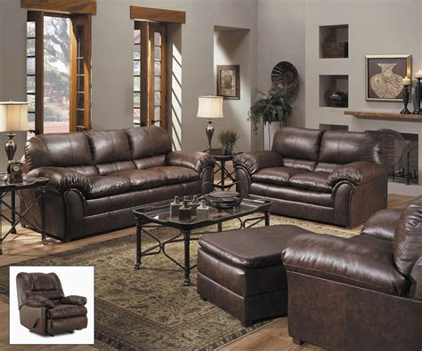 leather living rooms sets geneva classic brown bonded leather living room furniture