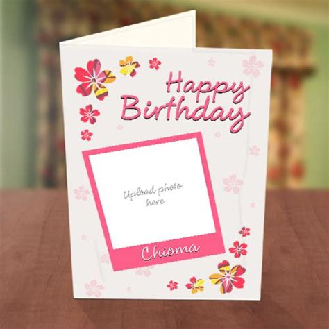 card with photos photo upload pink petals birthday card greetings world