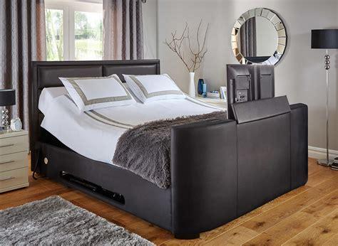 single tv bed frame truscott black faux leather tv bed frame